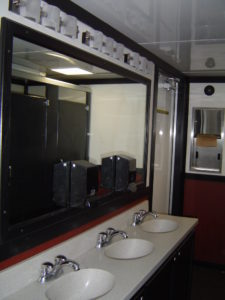 comfortable interior of our 24-ft King Restroom Trailer