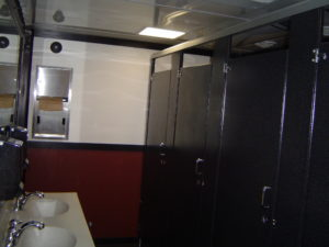 interior of womens side of our King Restroom Trailer - available for rent from Jimmy's Johnnys Inc, Minneapolis St. Paul MN