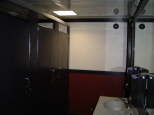 climate controlled restroom trailer with running water