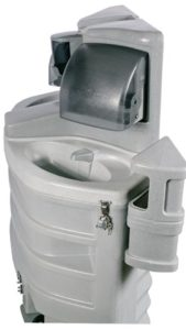 built in trash container with this portable hand washing station rental