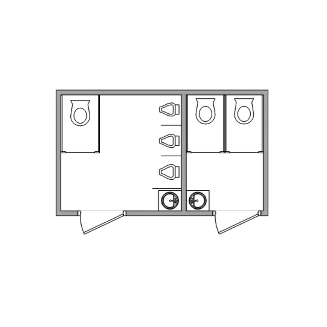14-foot Luxury Restroom Trailer - image jj-restroom-trailer-14ft-floorplan on https://jimmysjohnnys.com